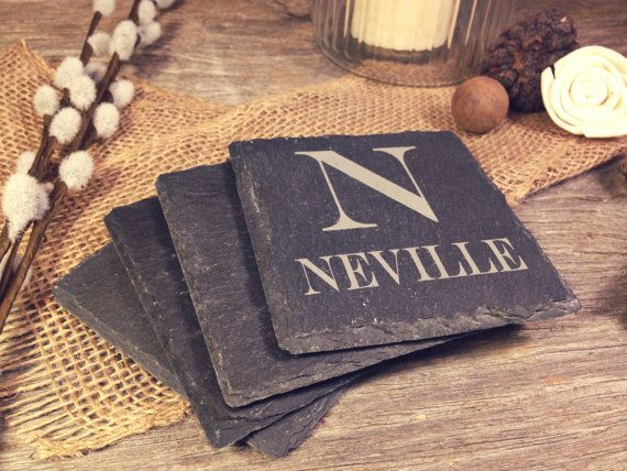 Slate Coasters w/Large Initial and Name Below  by OTBengraving