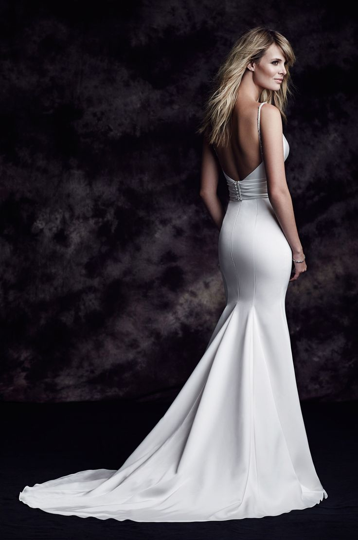 View Beaded Strap Wedding Dress - Style #4603 from Paloma Blanca. Paloma Satin gown. Plunging neckline, beaded insert. Fit and flare skirt. Chapel Train.