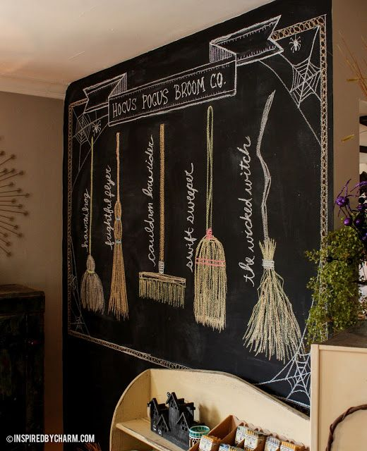 """If you have a blackboard wall, use it to create a """"witch's broom storefront,"""" like Hocus Pocus Broom Co. Continue the witch theme with our """"Trouble Brewing"""" free pumpkin carving pattern here: http://www.pumpkinmasters.com/free-patterns.asp. Idea by Inspired by Charm."""