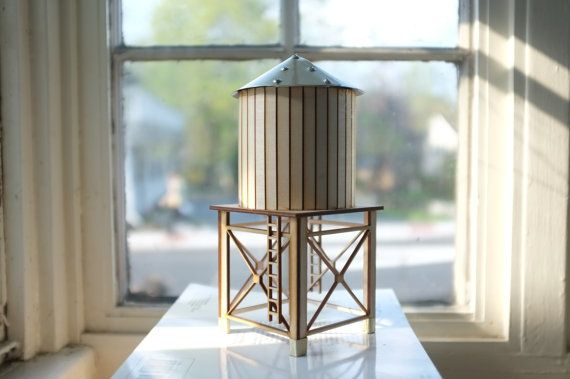 NYC water tower 2 - tabletop wooden water tower - gold aluminum roof and accents  - industrial cityscape decor - geometric on Etsy, $67.50
