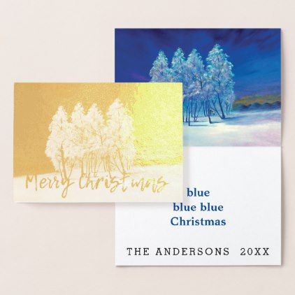 #Spruce Pine Blue Christmas Trees Original Painting Foil Card - #Xmas #ChristmasEve Christmas Eve #Christmas #merry #xmas #family #kids #gifts #holidays #Santa