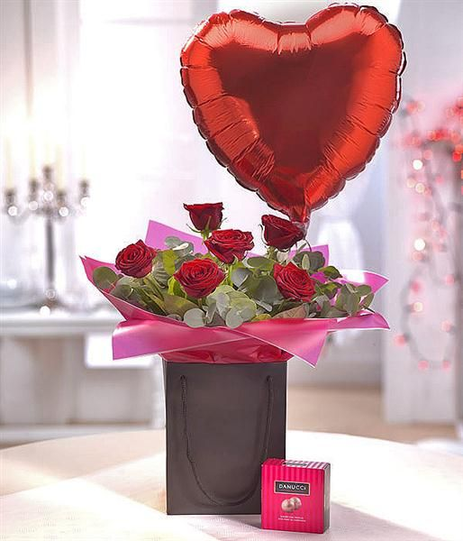 Be Mine Chocolate & Balloon Gift Set. From www.FloralArtOnline.co.uk