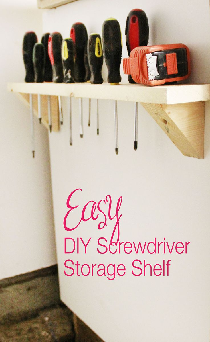 Easy DIY, make your own screwdriver and tool storage. Would be great in a craft room!