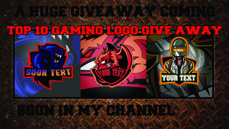 You can get best gaming logos for free. The logos will be photoshop template.It will be given out on Youtube.com channel name-Bongchild. the link in the comment section