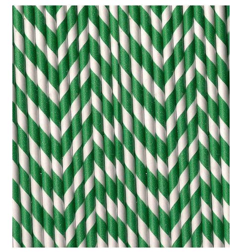 Striped paper straws beverages parties weddings Green white stripes