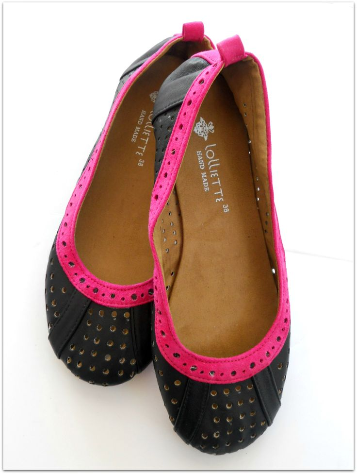 {STEPHANIE} Cut-out Ballet flat   Black Leather and Fuchsia Suede  $89 AU