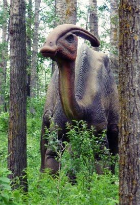 Jurassic Forest near Edmonton, Alberta, Canada. Life size dinosaurs in natural setting. They make sounds and move.