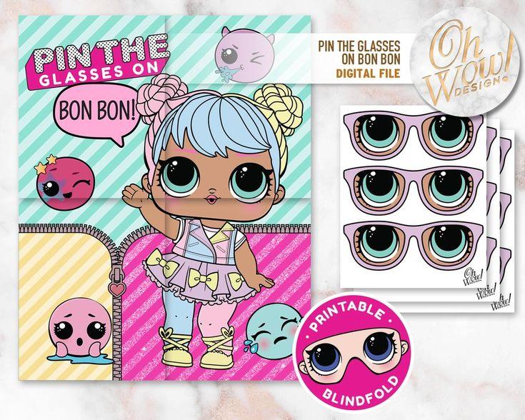 LOL Überraschungspuppe inspiriert Pin die Gläser auf Bon Bon: Digitale Datei LOL Überraschung …   – Olivia party
