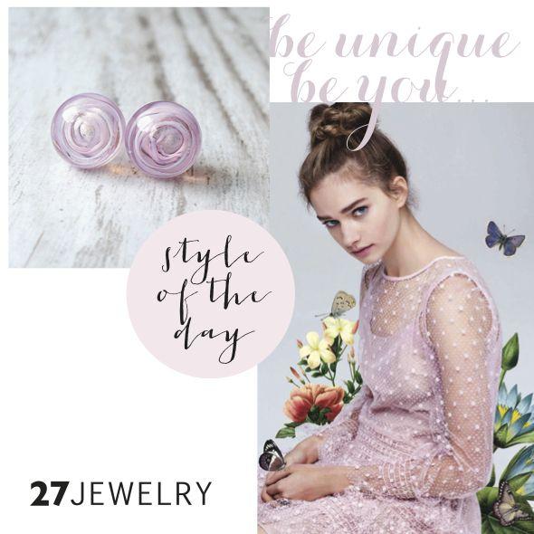 Delicate pink handmade glass 27jewelry earrings