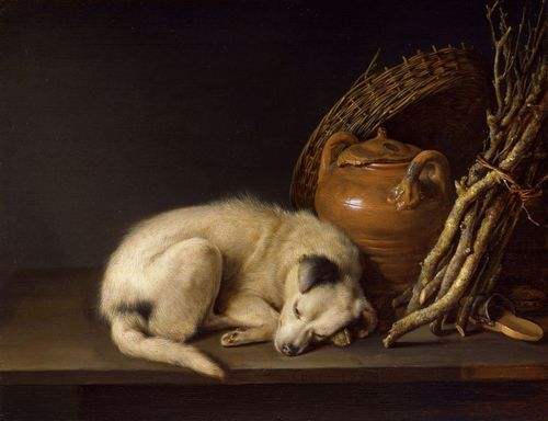 Sleeping Dog with Still Life, 1650 by Gerrit Dou