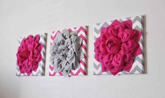 THREE Flower Wall Art Hot Pink and Gray Flower Chevron Home Decor 12 x 12 Baby Nursery Decor on Etsy, $93.00