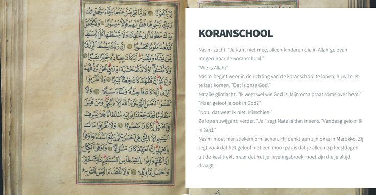 De koran: leerlingen zoeken vergelijkbare boeken (bijbel, thora) en praten over hun ervaringen hiermee. Kennen ze de verschillende boeken? Zijn er vergelijkbare verhalen in de boeken?