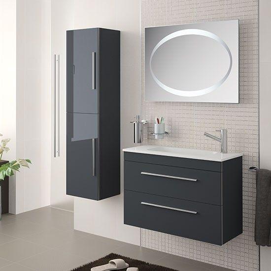 Mueble de ba o serie 35 salgar 60 cm gris antracita con for Muebles de bano 60 x 45