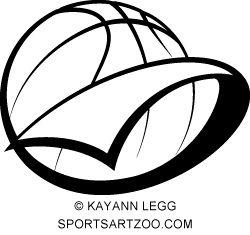 Basketball Pennant vector art by SportsArtZoo. Print on apparel gifts & awards. #basketball