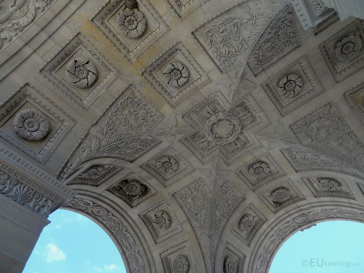 The Arc de Triomphe du Carrousel is a smaller version of the more famous monument but still has an incredible amount of detail along the walls and above to the ceiling.  To see more go to www.eutouring.com/arc_de_triomphe_du_carrousel.html