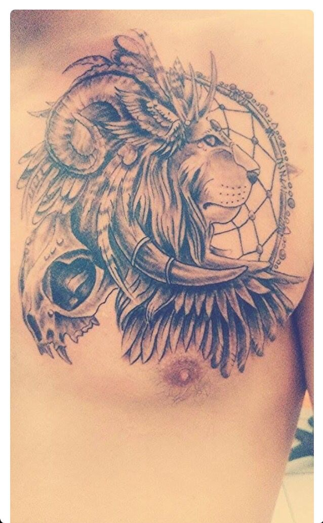 Lions head with goat horns Chest tattoo, Chest tattoo