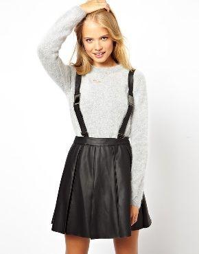 Расклешенная юбка со съемными подтяжками ASOS