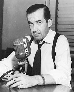 "Edward R Murrow was offered the job of the news cast CBS - Which was the largest network at the time in the United States l. When he became the ""face"" of reporting or invented the idea of broadcast journalism was when he moved to London in 1937 to become the networks chief correspondent. He oversaw what we know today as foreign broadcasting as well."