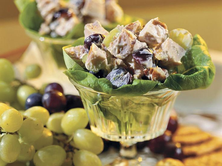 Chicken Salad With Grapes and Pecans | Serve this fruity, nutty chicken salad with assorted crackers and grapes for a filling lunch or a delicious brunch. The recipe was inspired by a favorite dish served at the former Sweetbriar restaurant in Gadsden, Alabama.