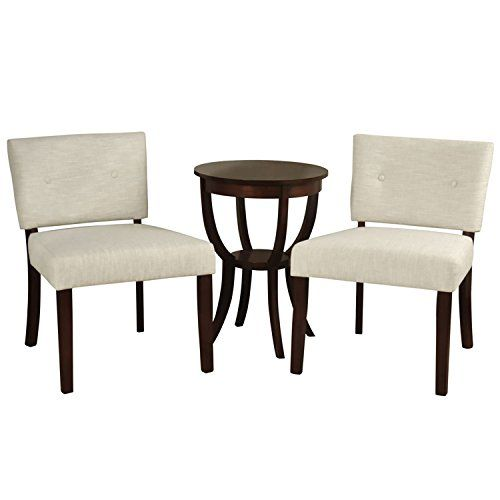 Stylecraft Button Back Pair Hardwood Slipper Chairs Side Table