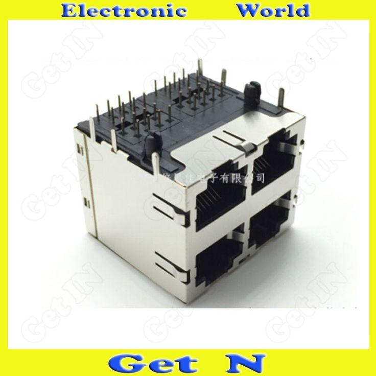 5pcs-15pcs 28mm Lenght Bend 32 Pins 4x RJ45 Female Connectors 2x2 4 Ports With Shrapnel Lamp rj45 Network Socket #Affiliate