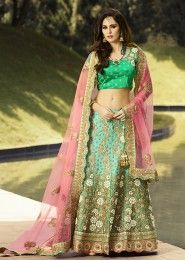 Wedding Wear Green Art Silk Zarkan Work Lehenga Choli