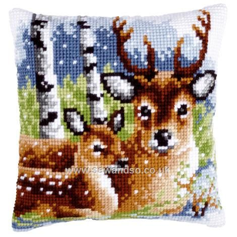 Buy Deer Family Cushion Front Chunky Cross Stitch Kit Online at www.sewandso.co.uk