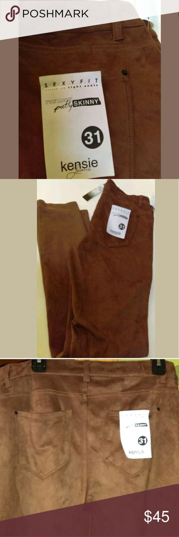 "Kensie Jeans Skinny Deep Camel Brown Faux Suede New Kensie Jeans Deep Camel Brown Soft Faux Suede Sexy Fit Skinny Pants.  *""You Look Pretty SKINNY"" pants  *Soft Faux Suede  *Skinny Pants  *Narrow Leg, tight ankle  *Zip Fly with Button Closure  *5 Pocket Style  *Mid Rise  *Size 31  *Polyester/Spandex  *New with tags  *Logo Patch Above Back Pocket  *MSRP $98.00 Kensie Jeans Jeans Skinny"