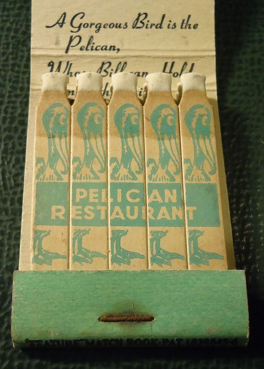 Vintage Matchbook - Pelican Restaurant Sandusky OH FULL FEATURE