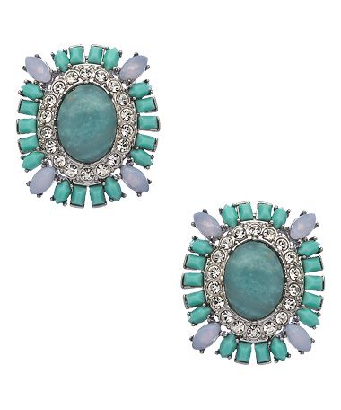 Carolee Silver Crystal and Turquoise Beaded Clip-on Earrings #maxandchloe