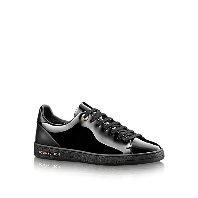 Discover Louis Vuitton Frontrow Sneaker:  Reinterpreting the classic tennis shoe, this on-trend sneaker in glossy patent calf leather has a clean-cut design embellished with subtle metal details.