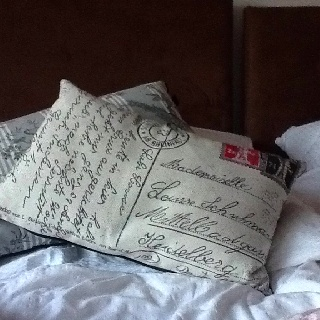 Shabby chic cushion in the German apartment I'm staying in