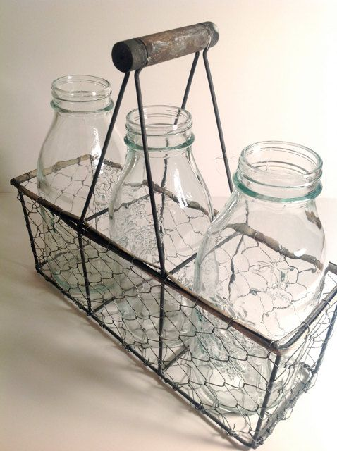 Adorable French Country Shabby Chic Milk Bottles With