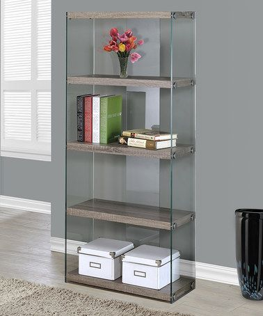 This Dark Taupe Tempered Glass Bookcase is perfect! #zulilyfinds
