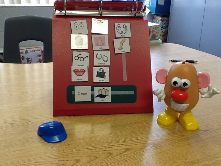 Using Mr. Potato Head as a requesting activity with PECS pictures.