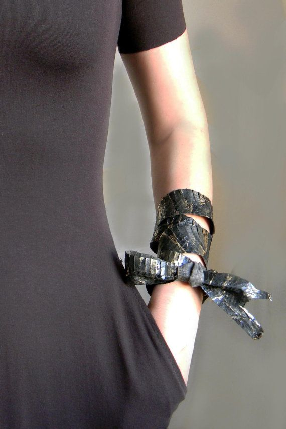 Genuine Snake Skin Wrap Cuff Leather Scarf Waist Belt by Elyseeart