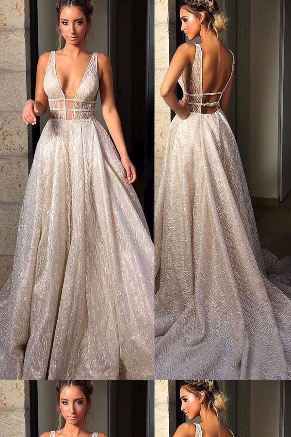 2018 Evening Dresses, V-Neck Evening Dresses, Backless Evening Dresses, Cheap Evening Dresses, A-Line Prom Dresses