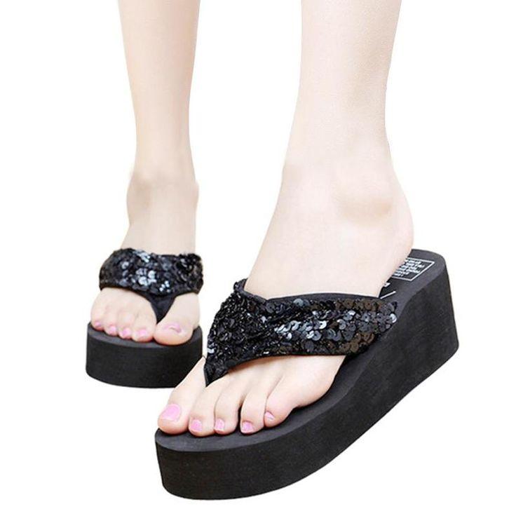 Fashion Women Summer Slippers Sequins Anti-Slip Wedge Sandals Indoor Outdoor Thong Mid Heels Platform Slippers Flip-flops