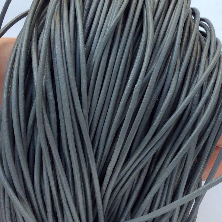 Купить или заказать _Шнур кожаный 2 мм серый для украшений в интернет-магазине на Ярмарке Мастеров. Кожаный шнур натуральный, серый. Шнур кожаный, мягкий, диаметр 2 мм.