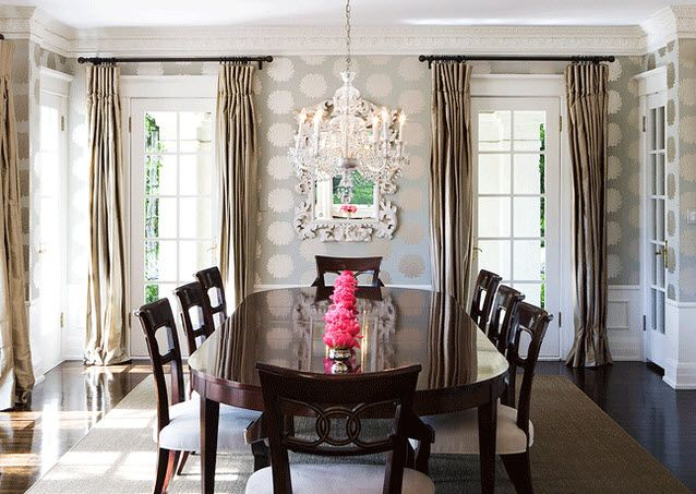 Stunning dining room with gray and gold romo kiku for Grey dining room wallpaper
