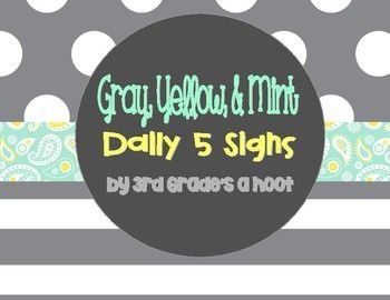 Subtle mint, gray and yellow Daily 5 Signs that coordinate perfectly with my classroom decor set in these colors. Includes: Read to Self, Read to Someone, Listen to Reading, Work on Writing, and Work on Words