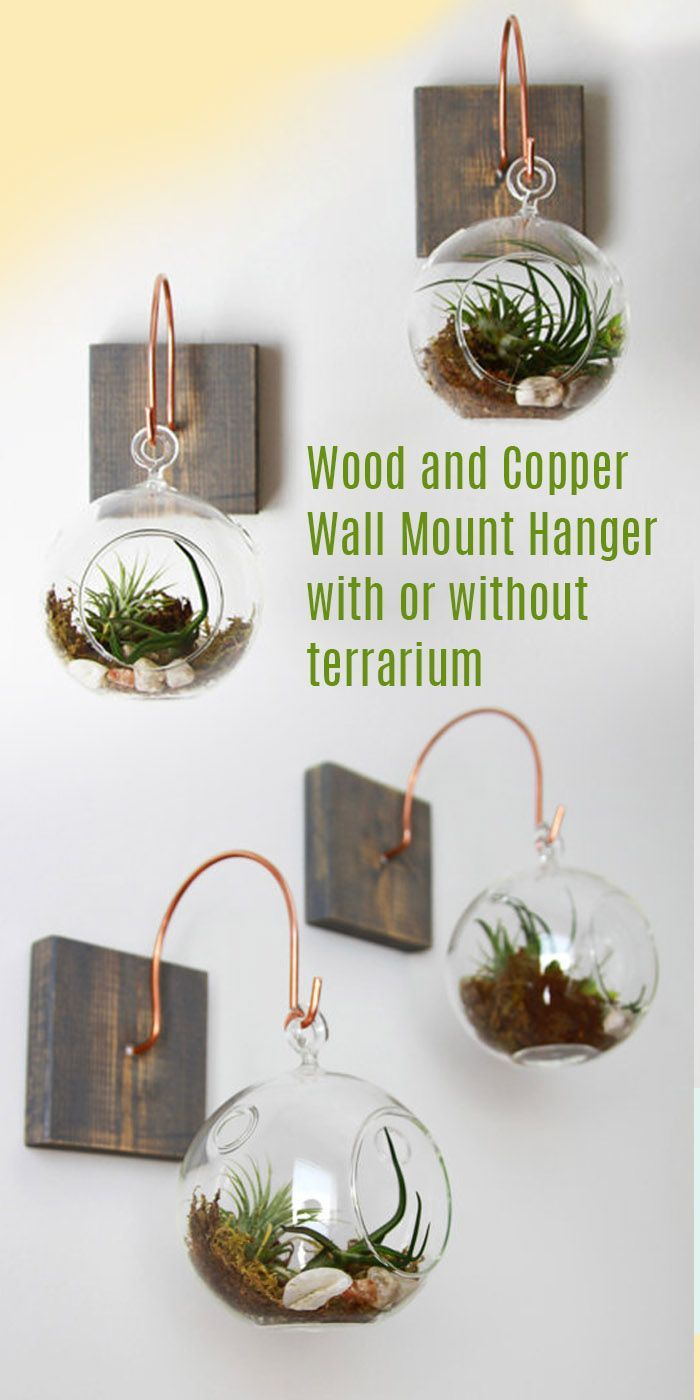 These wood and copper wall mounts can hold small lanterns, or these cool globe terrariums. They come with or without the terrariums and plants. I love this idea for bathrooms, and for gifts. Great hostess gift. #gift #terrarium #rustic #farmhouse #plants #commissionlink