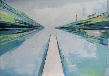 """Oil painting, canvas art, stretched, """"Lake XIX"""". Size 39,4/27,6 inches (10070cm)."""