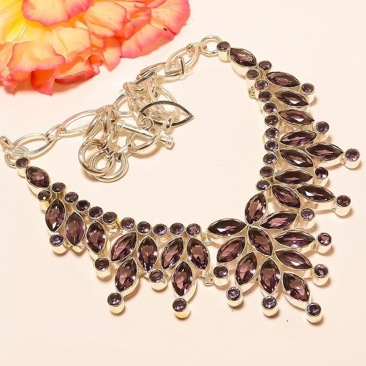 "Designer Amethyst 925 Sterling Silver Jewelry Necklace 18"" #Handmade #Choker"
