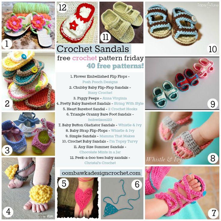 40 Free Crochet Sandal Patterns - Free Crochet Pattern Friday (FCPF) #crochet #freepattern #sandals
