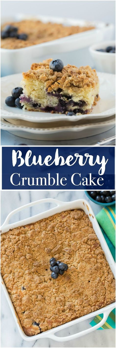 Blueberry Crumble Cake is such a moist, crumbly and a delicious cake! You'll fall head over heels for this delicious cake! Plus there's a video to show you how simple this cake is! #blueberry #cake #crumble #dessert #cake