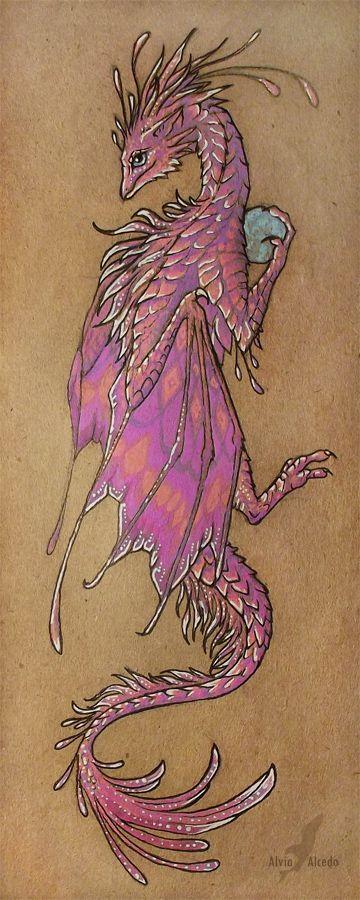 Pink dragon bookmark by AlviaAlcedo.deviantart.com on @deviantART
