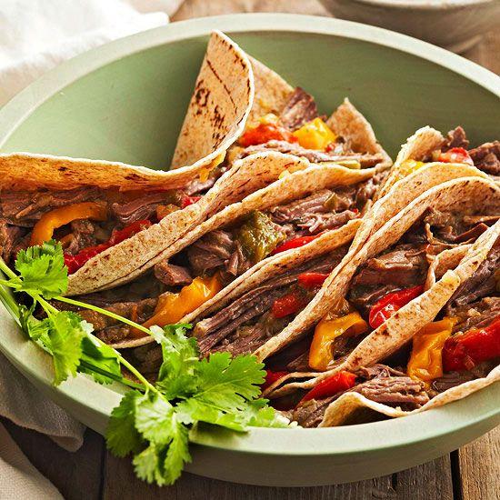 Slow-Cooked Beef Fajitas | Recipe | Slow cooked beef ...