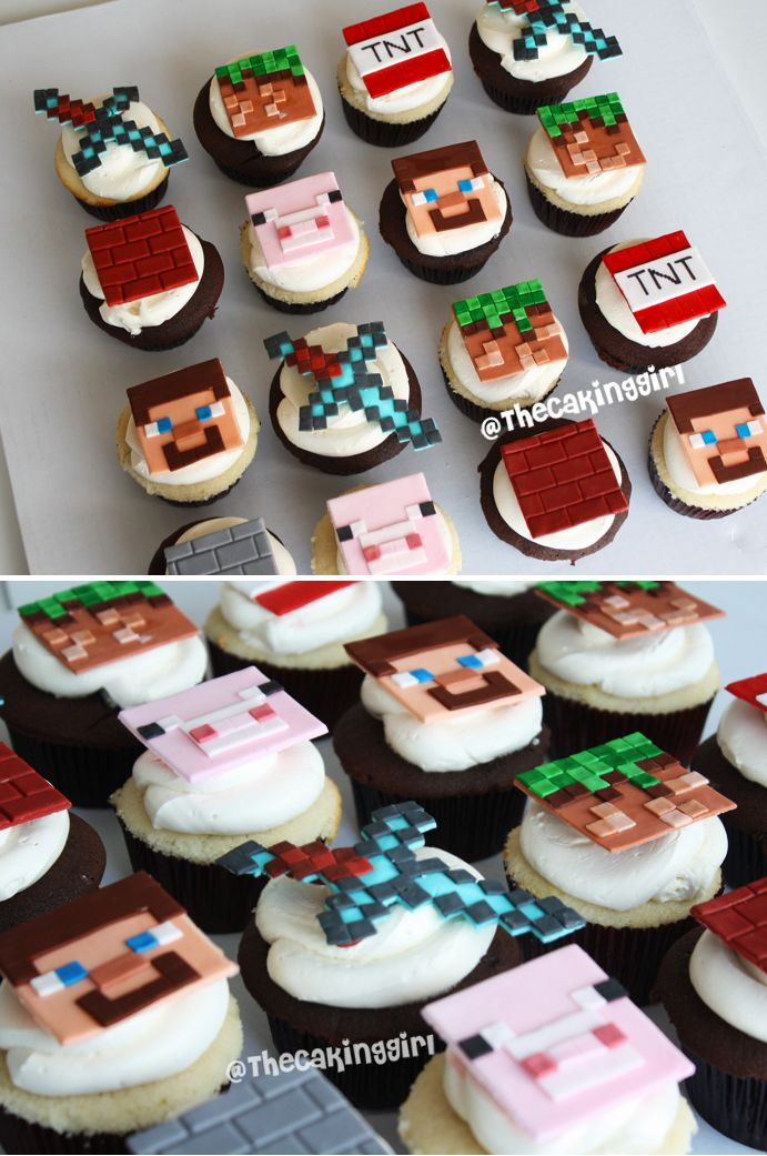 Minecraft cupcakes fondant toppers, designs www.thecakinggirl.ca