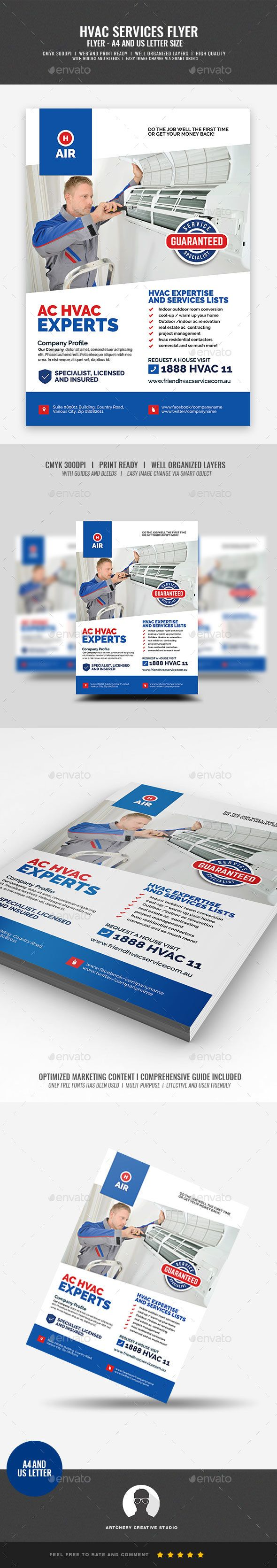 HVAC Repair and Maintenance Flyer Template PSD - A4 and Letter Size